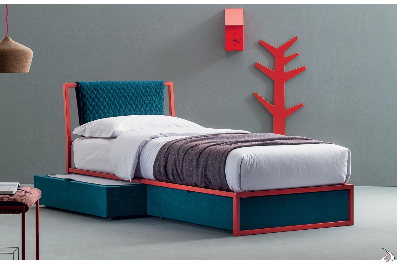 Letto Singolo Moderno Con Cassetti.Modern Metal Bed For Emar Boys Toparredi Arredo Design Online