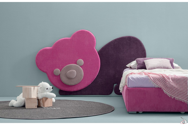Testiera imbottita a forma di orsetto per letto bambini