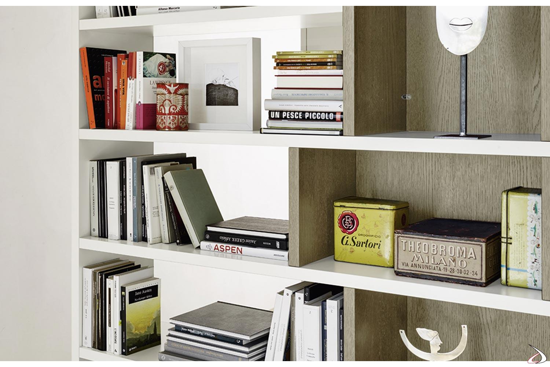 Libreria soggiorno bifacciale in legno