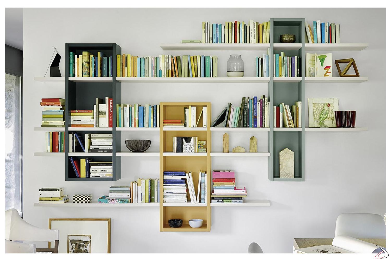 Libreria A Muro Sospesa.Libreria Soggiorno A Muro Raffaello Toparredi Arredo Design Online