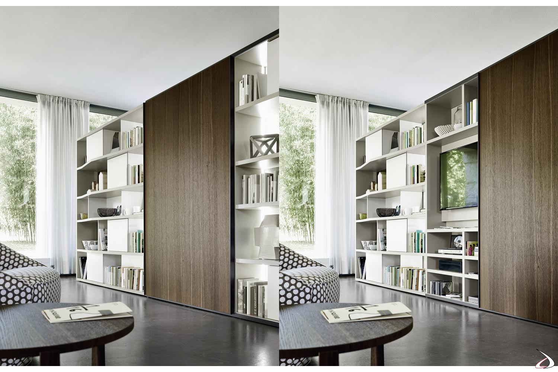 Mobile libreria moderna con porta scorrevole