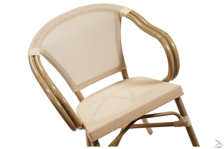 Sedia con ampia seduta da giardino colore crema