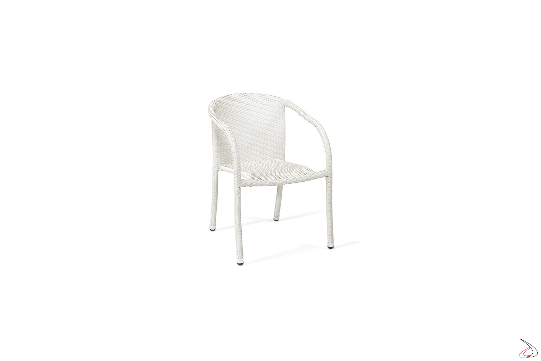 Sedia per arredo veranda con schienale e braccioli colore bianco