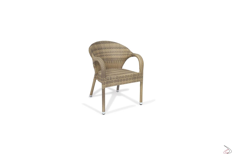 Sedia per arredo terrazzo con schienale e poggioli colore moka