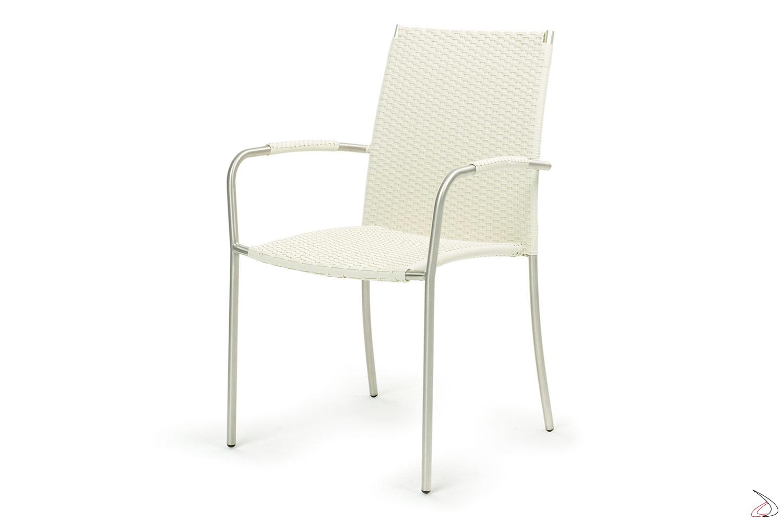 Sedia con braccioli in acciaio inossidabile colore bianco