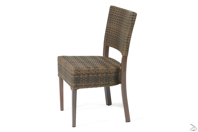 Sedia con schienale da gazebo colore caffé