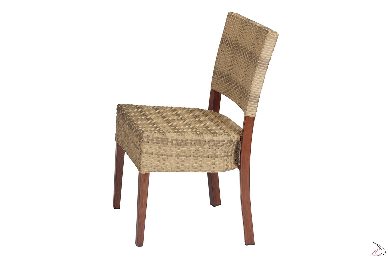 Sedia verniciata con seduta ampia da terrazzo colore moka