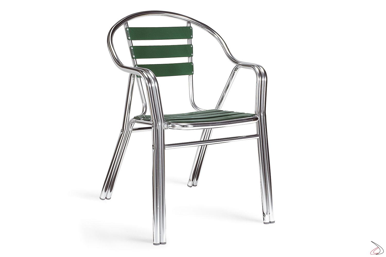 Sedia da giardino con doghe seduta in alluminio verde