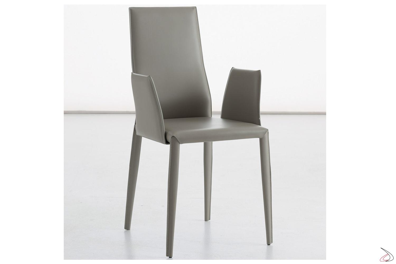 Sedia moderna con braccioli per tavolo soggiorno