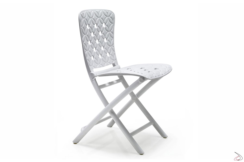 Sedia pieghevole Zac Spring in color bianco