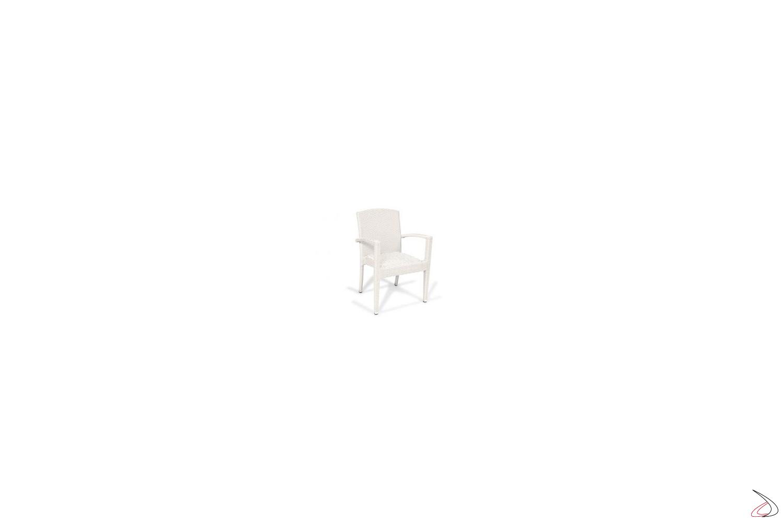 Sedia con poggioli da giardino colore bianco