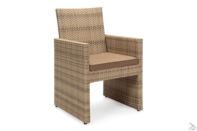 Sedia con schienale da giardino colore moka