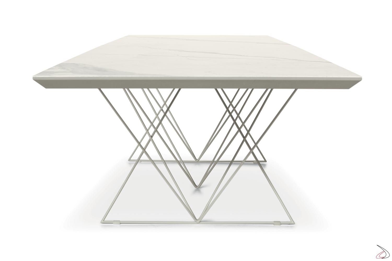 Tavolo allungabile in ceramica bianca per 16 posti a sedere