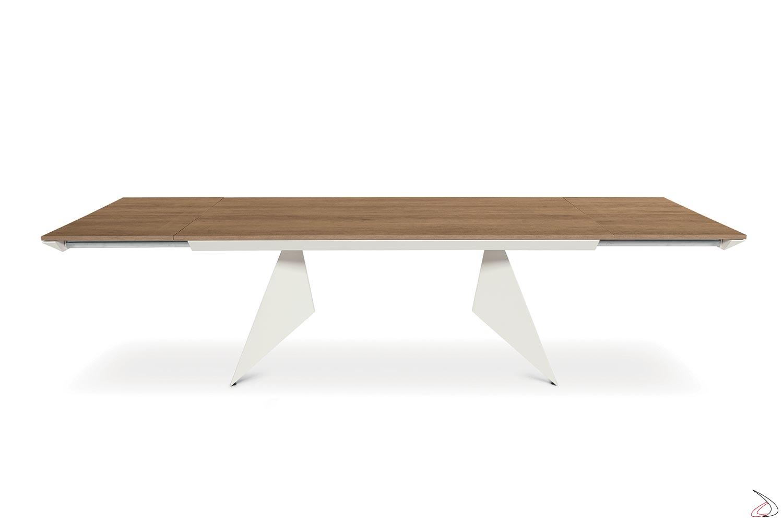 Tavolo da soggiorno allungabile per 14 persone in nobilitato abete nodato