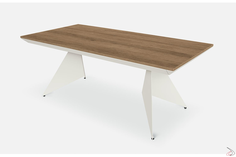Tavolo da pranzo di design allungabile con piano in nobilitato abete chiaro