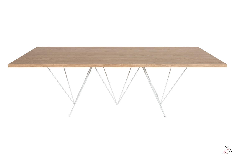 Tavolo grande da soggiorno in rovere naturale allungabile fino a 4 metri