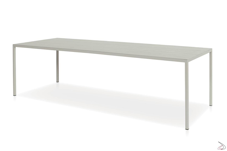 Tavolo rettangolare grande con piano in nobilitato similcemento