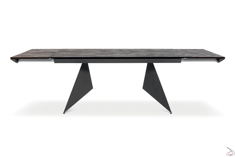 Tavolo moderno allungabile per 14 persone con piano e allunghe in ceramica