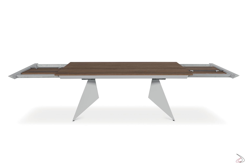 Tavolo allungabile da soggiorno moderno con 2 allunghe