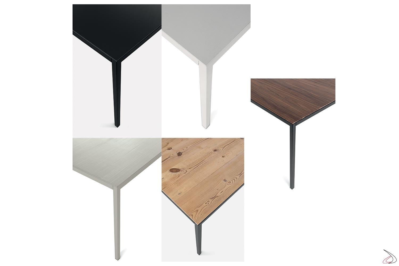 Tavolo moderno fisso da cucina con gambe in metallo perimetrali sottili