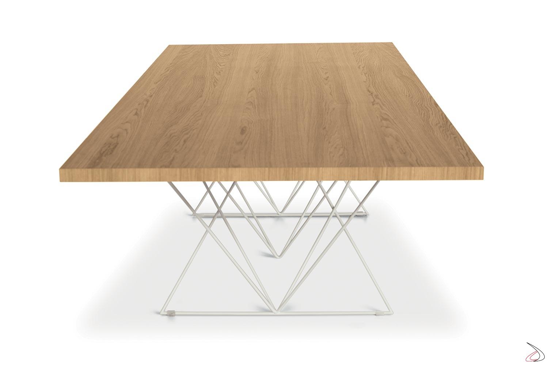 Tavolo fisso in legno da soggiorno con struttura bianca