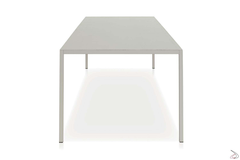 Tavolo fisso grande per 10 posti a sedere con piano in nobilitato similcemento