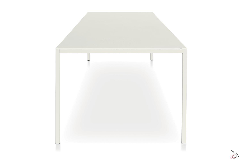 Tavolo grande da cucina per 8 posti a sedere con piano in nobilitato bianco