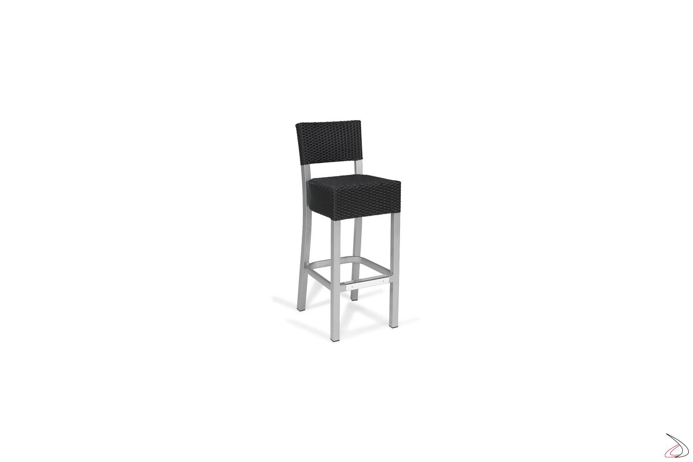 Sgabello da esterno con schienale verniciato grigio con seduta colore antracite