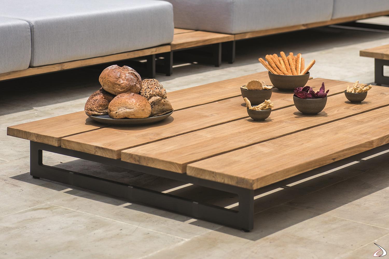 Tavolino da esterno in legno massiccio teak con piedini in alluminio
