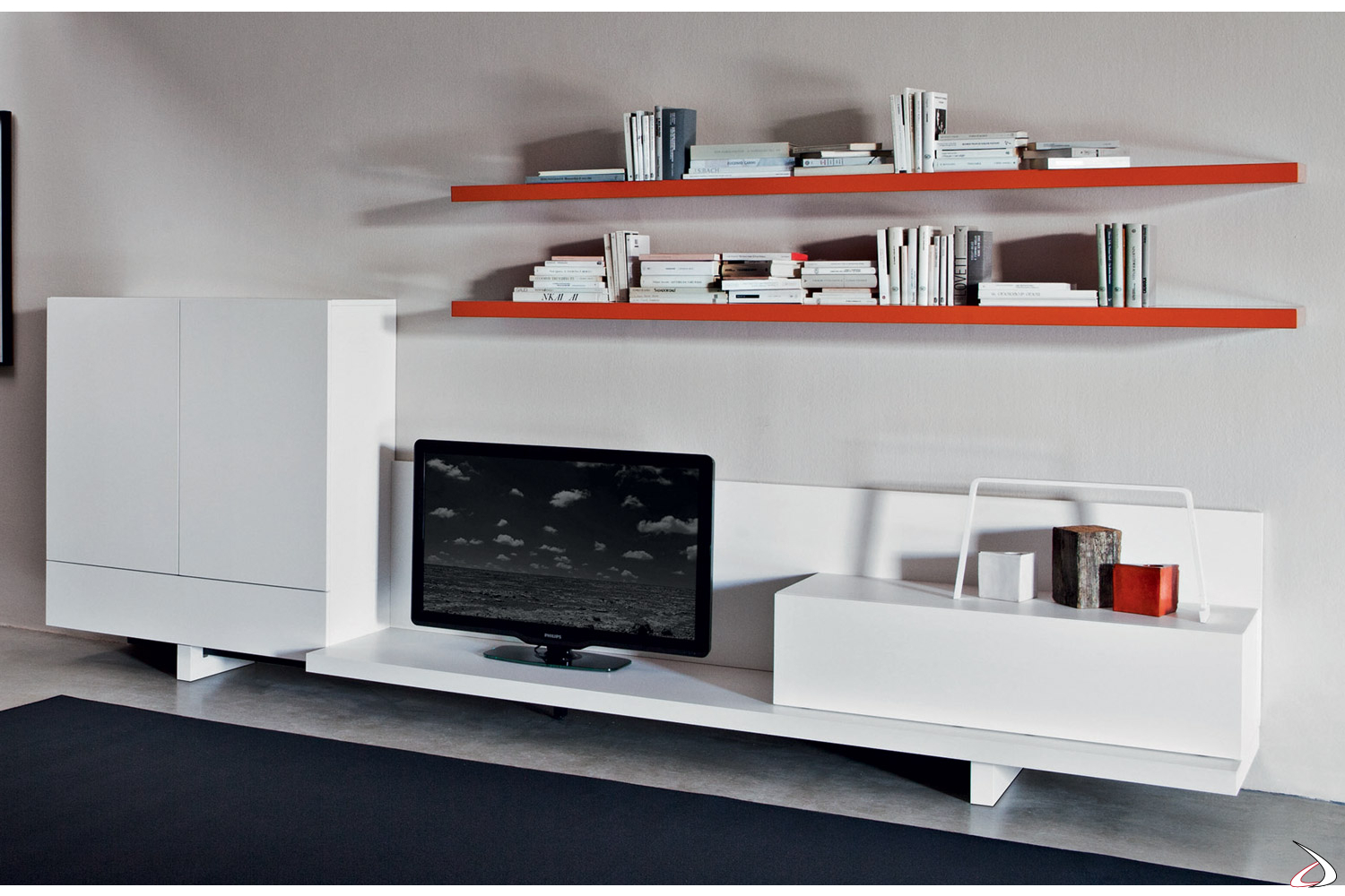 Modern living room with wall unit and TV stand