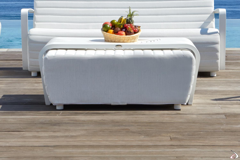 Tavolino grande della collezione Axis in alluminio verniciato bianco