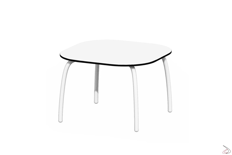 Tavolo Loto Relax 60 bianco con gambe in alluminio in tinta