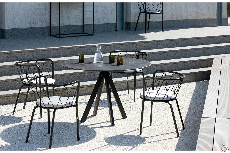 Tavolo rotondo di design per esterno Desiree Stone | TopArredi