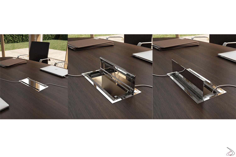 Tavolo riunioni moderno in melaminico wenge con top access cromato