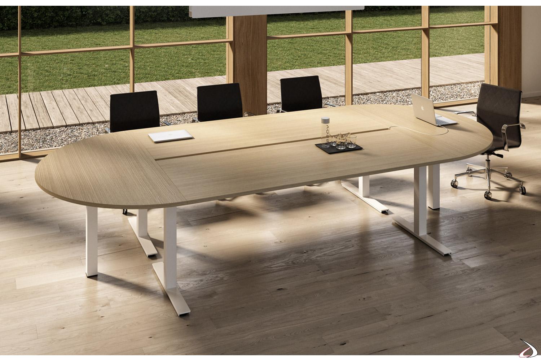Tavolo riunioni moderno con piano arrotondato e gambe bianche
