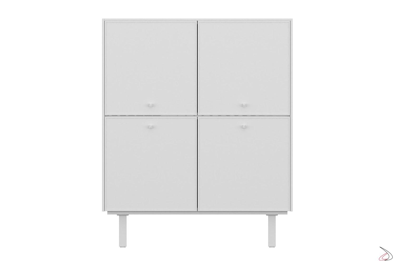 Mobile ufficio alto bianco di design con 4 ante e con piedini alti