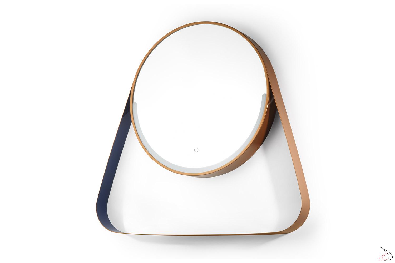 Specchiera moderna da bagno con illuminazione a led e mensola porta sapone