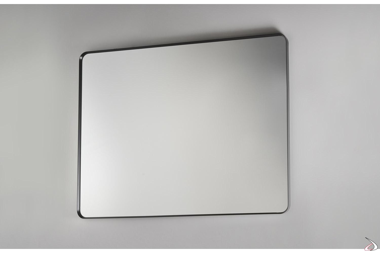 Specchiera moderna quadrata con cornice in alluminio nero opaco