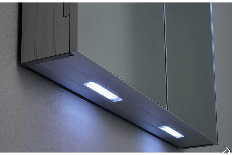Specchio moderno contenitore da bagno con luce led bianca