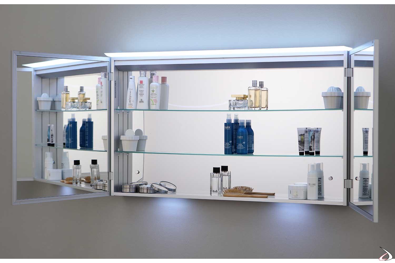 Specchio di design contenitore con ante doppio vetro interno/esterno