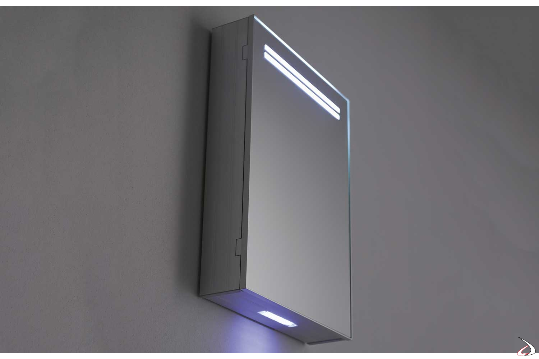 Specchio contenitore bagno di design con luci led