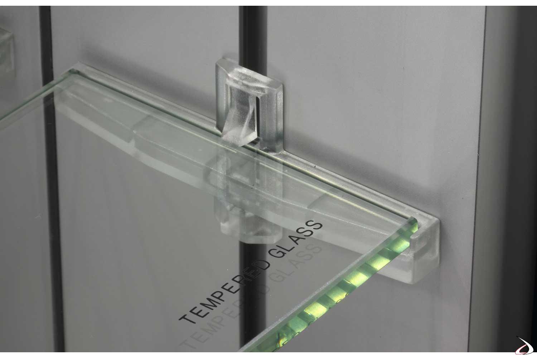 Specchio con contenitore e ripiani in vetro regolabili in altezza