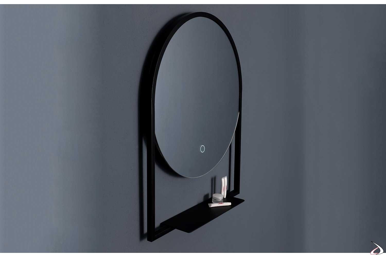 Specchio da parete con mensola e retroilluminazione a led