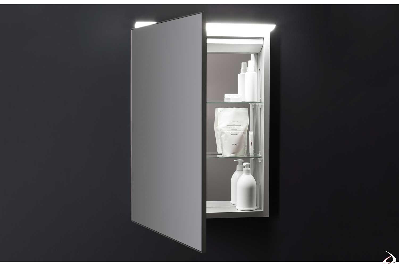 Specchio 1 anta contenitore da bagno con luce led