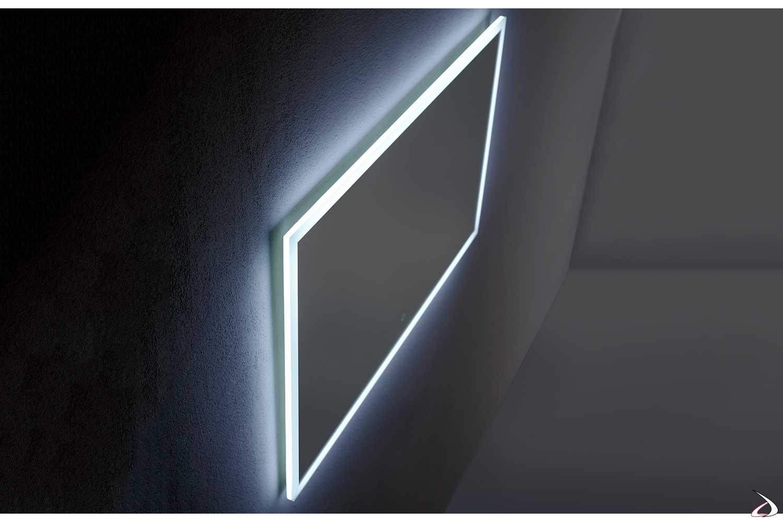 Specchio design grande orizzontale con luce led 6000K