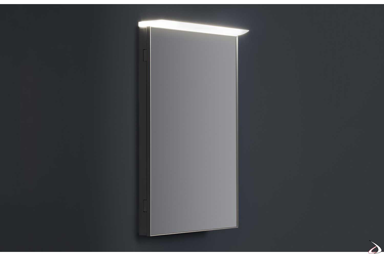 Specchio bagno contenitore ad un anta con luce led