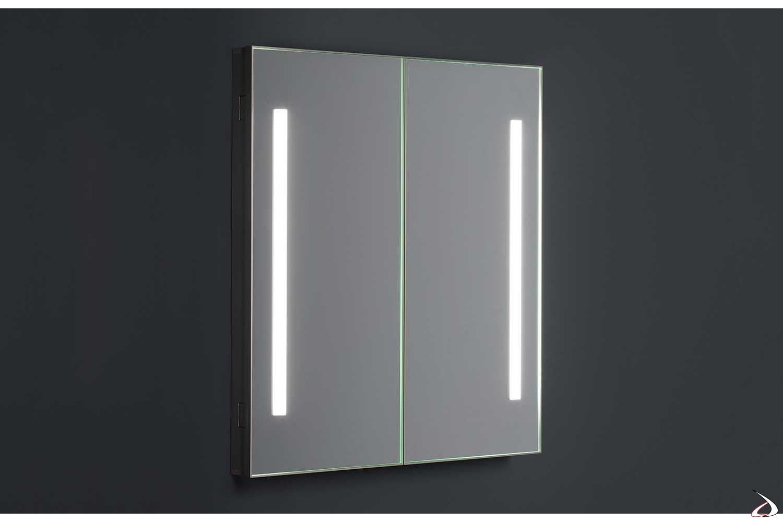 Specchio bagno contenitore semincasso a due ante retroilluminate