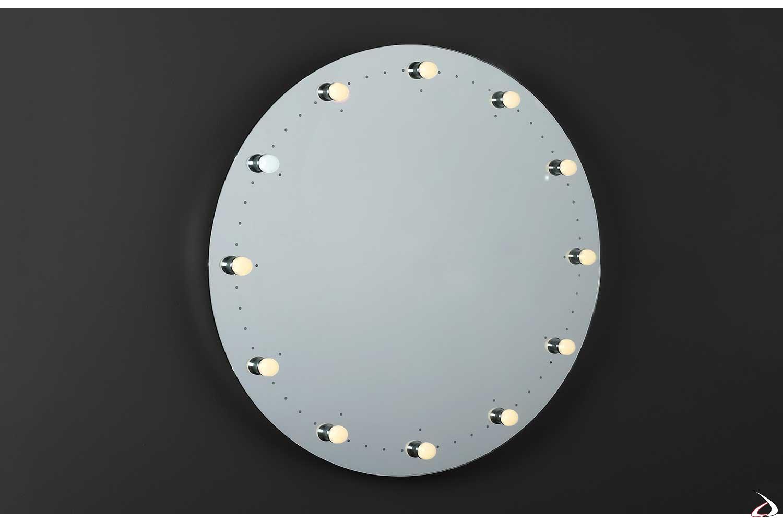 Specchio rotondo di design con orologio e lampade a led