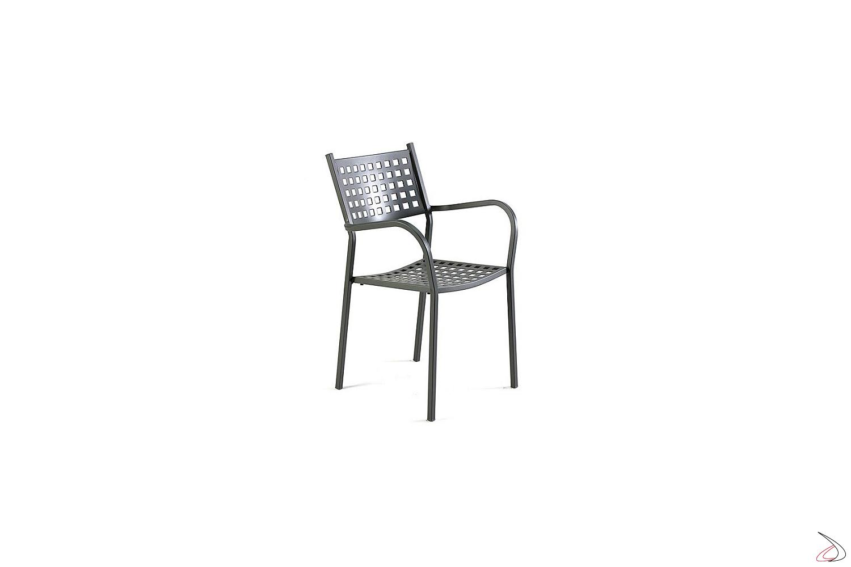 Sedia in ferra moderna da esterno con braccioli