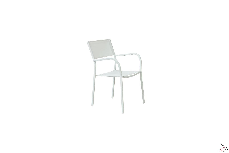 Sedia di design in metallo e texplast da esterno